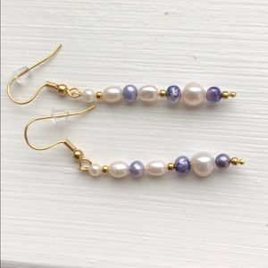 Lavender/white pearls gold plated wire&hooks
